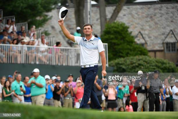 PARAMUS NJ AUGUST Bryson DeChambeau celebrates on the 18th green after winning THE NORTHERN TRUST at Ridgewood Country Club on August 26 2018 in...