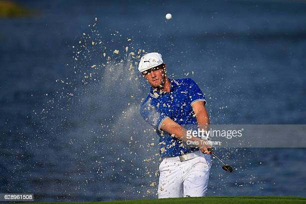 Bryson DeChambeau hits third shot on the 18th hole during the final round of the Franklin Templeton Shootout at Tiburon Golf Club on December 10 2016...