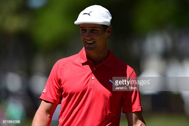 Bryson DeChambeau looks on from the first green during the final round of the 2016 RBC Heritage at Harbour Town Golf Links on April 17 2016 in Hilton...