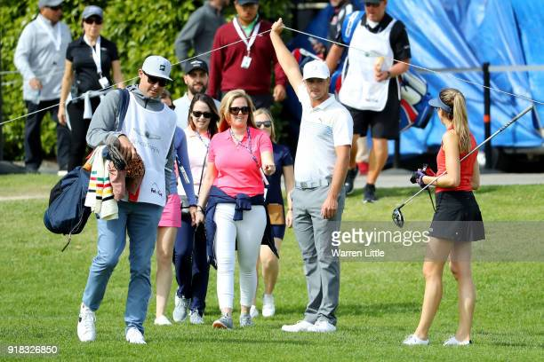 Bryson DeChambeau meets his playing partners during the ProAm of the Genesis Open at the Riviera Country Club on February 14 2018 in Pacific...
