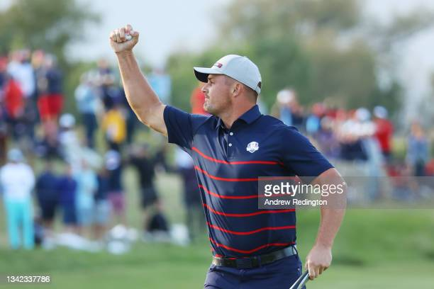 Bryson DeChambeau of team United States celebrates on the 15th green during Friday Afternoon Fourball Matches of the 43rd Ryder Cup at Whistling...