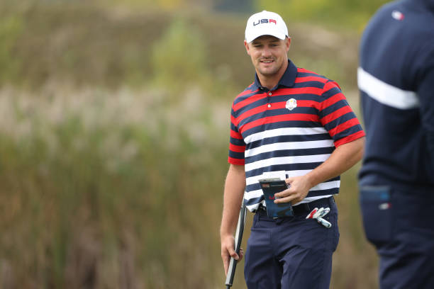 Bryson DeChambeau of team United States looks on during practice rounds prior to the 43rd Ryder Cup at Whistling Straits on September 23, 2021 in...