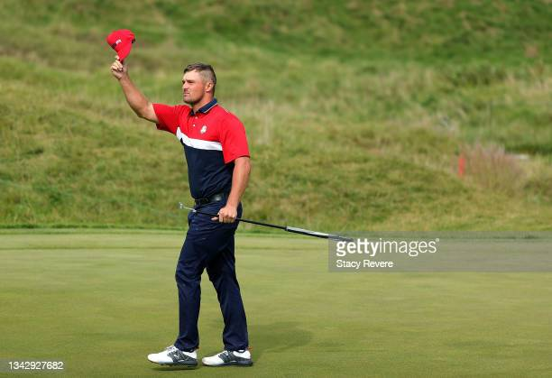 Bryson DeChambeau of team United States reacts on the ninth green during Sunday Singles Matches of the 43rd Ryder Cup at Whistling Straits on...