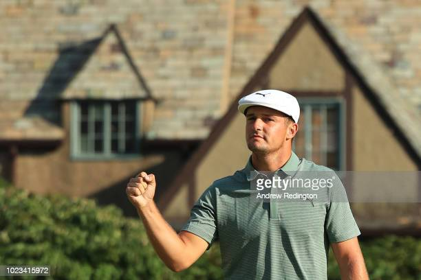 Bryson DeChambeau of the United States celebrates his birdie on the 18th green during the third round of The Northern Trust on August 25 2018 at the...