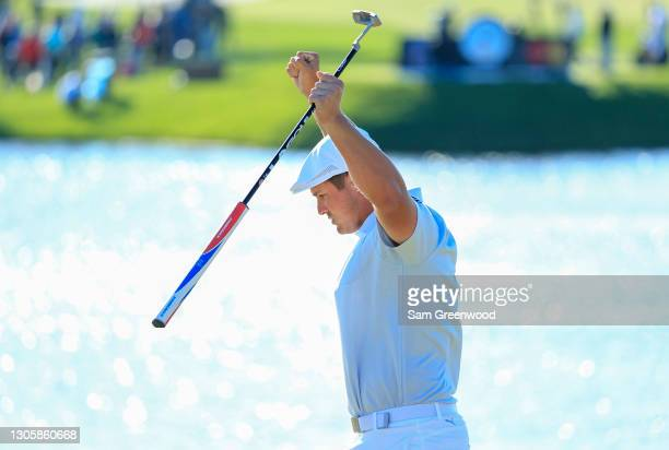 Bryson DeChambeau of the United States celebrates making par on the 11th green during the final round of the Arnold Palmer Invitational Presented by...