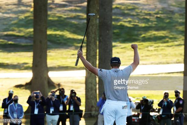 Bryson DeChambeau of the United States celebrates on the 18th green after winning during the final round of the 120th U.S. Open Championship on...