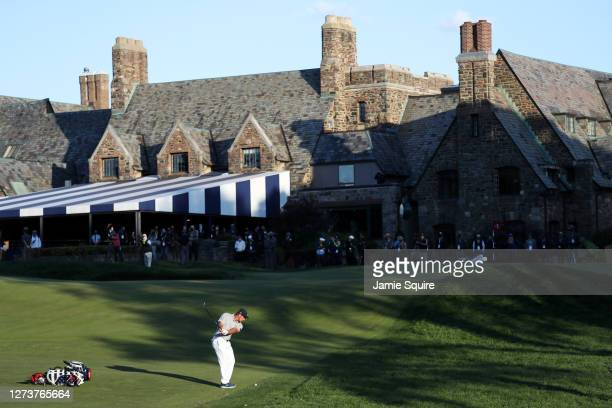 Bryson DeChambeau of the United States chips to the 18th green during the final round of the 120th U.S. Open Championship on September 20, 2020 at...