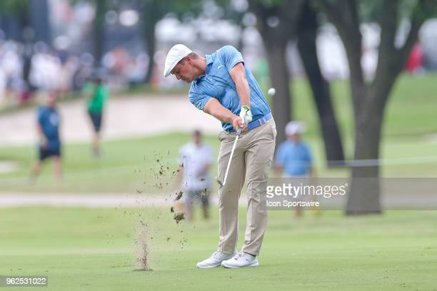 Bryson DeChambeau of the United States hits his approach shot to during the second round of the Fort Worth Invitational on May 25 2018 at Colonial...