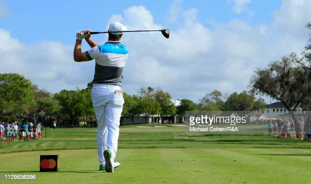 Bryson DeChambeau of the United States hits his drive on the 10th hole during The Open Qualifying Series part of the Arnold Palmer Invitational at...