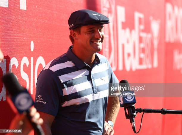Bryson DeChambeau of the United States is interviewed after winning during the final round of the Rocket Mortgage Classic on July 05, 2020 at the...