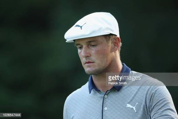 Bryson DeChambeau of the United States looks on during the final round of the Dell Technologies Championship at TPC Boston on September 3, 2018 in...