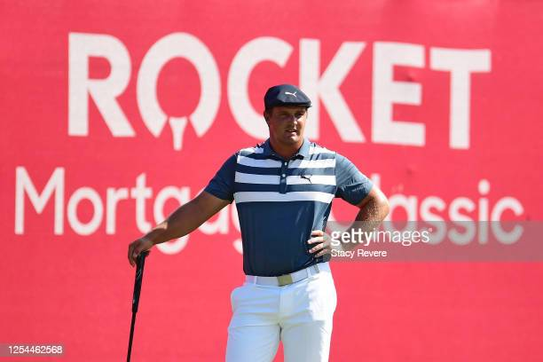 Bryson DeChambeau of the United States looks on from the 15th green during the final round of the Rocket Mortgage Classic on July 05, 2020 at the...