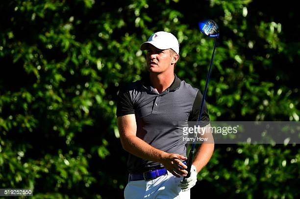 Bryson DeChambeau of the United States plays a shot during a practice round prior to the start of the 2016 Masters Tournament at Augusta National...