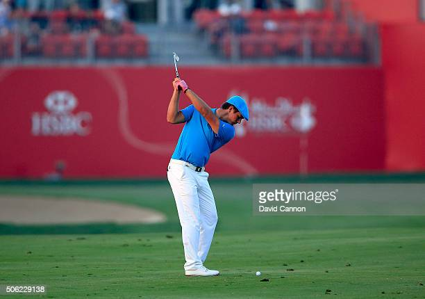 Bryson DeChambeau of the United States plays his second shot at the oar 4 17th hole during the second round of the 2016 Abu Dhabi HSBC Golf...