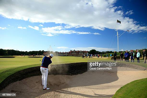 Bryson DeChambeau of the United States plays his second shot on the 18th hole in his match against Ashley Chesters of the Great Britain and Ireland...