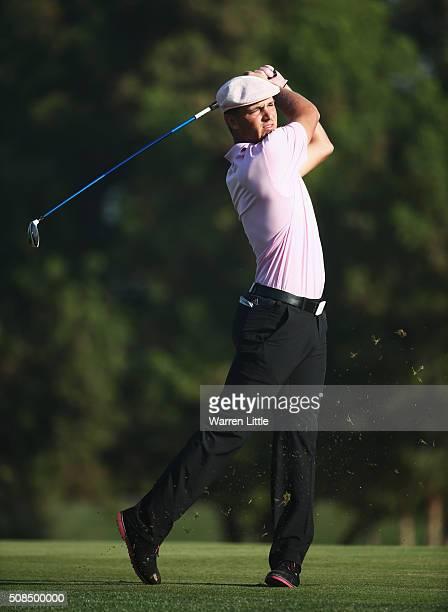 Bryson DeChambeau of the United States plays his second shot on the 3rd hole during the second round of the Omega Dubai Desert Classic at the...