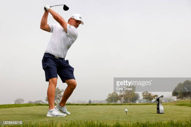Bryson DeChambeau of the United States plays his shot from the 14th tee during a practice round prior to the start of the 2021 U.S. Open at Torrey...