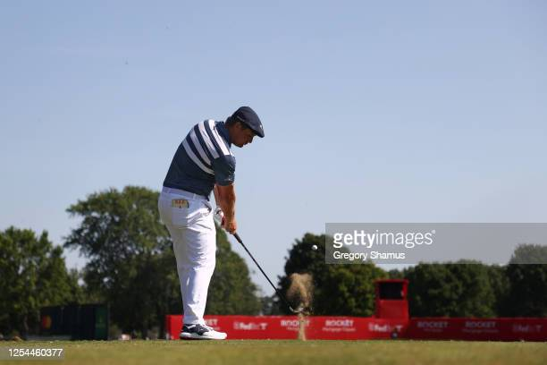 Bryson DeChambeau of the United States plays his shot from the 15th tee during the final round of the Rocket Mortgage Classic on July 05, 2020 at the...