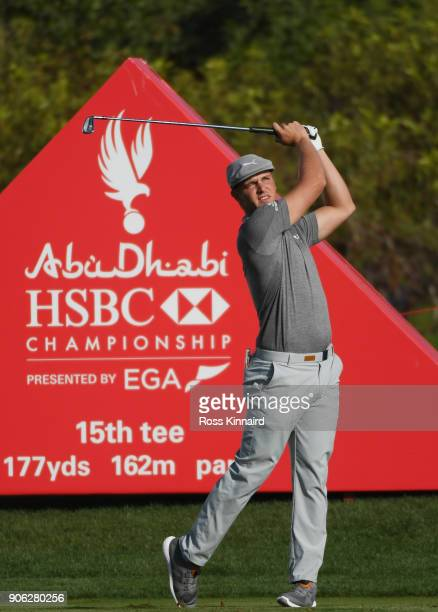 Bryson DeChambeau of the United States plays his shot from the 15th tee during round one of the Abu Dhabi HSBC Golf Championship at Abu Dhabi Golf...