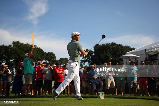 Bryson DeChambeau of the United States plays his shot from the 16th tee during the third round of The Northern Trust on August 25 2018 at the...