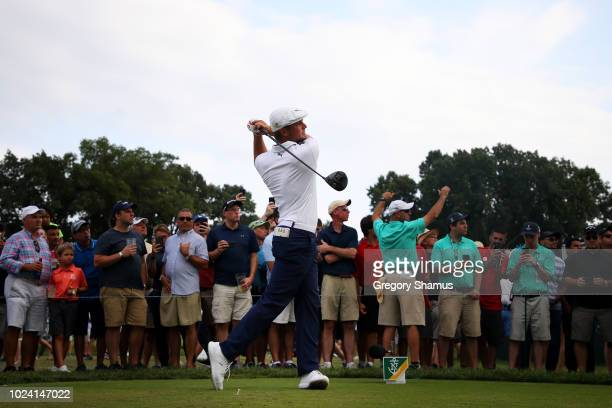 Bryson DeChambeau of the United States plays his shot from the 16th tee during the final round of The Northern Trust on August 26, 2018 at the...