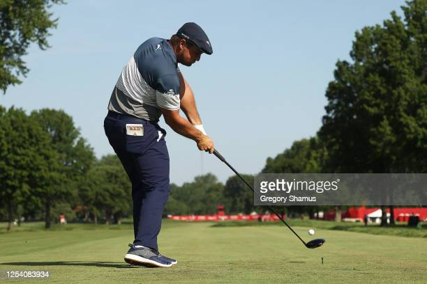 Bryson DeChambeau of the United States plays his shot from the 17th tee during the second round of the Rocket Mortgage Classic on July 03, 2020 at...