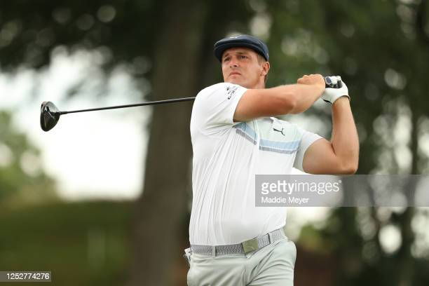 Bryson DeChambeau of the United States plays his shot from the 18th tee during the second round of the Travelers Championship at TPC River Highlands...