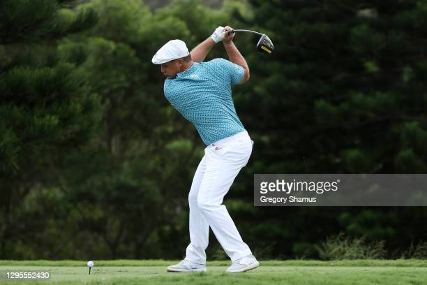 Bryson DeChambeau of the United States plays his shot from the 18th tee during the third round of the Sentry Tournament Of Champions at the Kapalua...