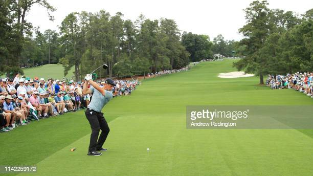 Bryson DeChambeau of the United States plays his shot from the eighth tee during the second round of the Masters at Augusta National Golf Club on...