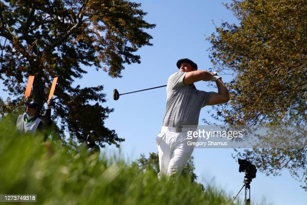 Bryson DeChambeau of the United States plays his shot from the ninth tee during the final round of the 120th U.S. Open Championship on September 20,...