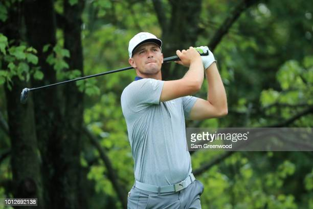 Bryson DeChambeau of the United States plays his shot from the second tee during a practice round prior to the 2018 PGA Championship at Bellerive...