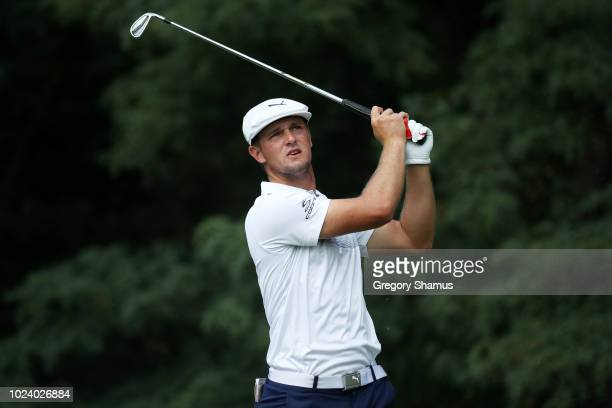 Bryson DeChambeau of the United States plays his shot from the second tee during the final round of The Northern Trust on August 26 2018 at the...