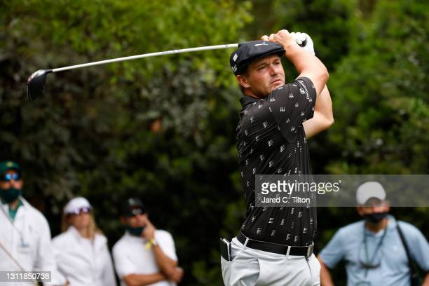 Bryson DeChambeau of the United States plays his shot from the seventh tee during the third round of the Masters at Augusta National Golf Club on...