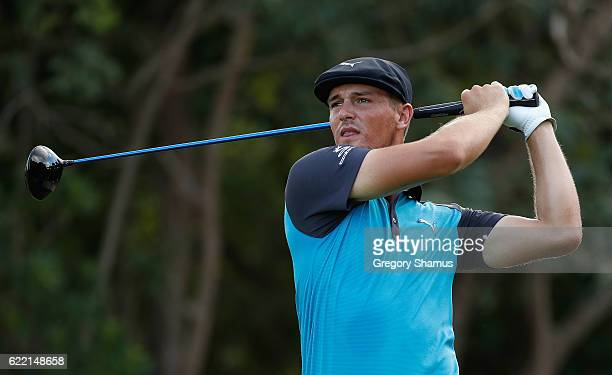 Bryson DeChambeau of the United States plays his shot from the seventh tee during the first round of the OHL Classic at Mayakoba on November 10 2016...