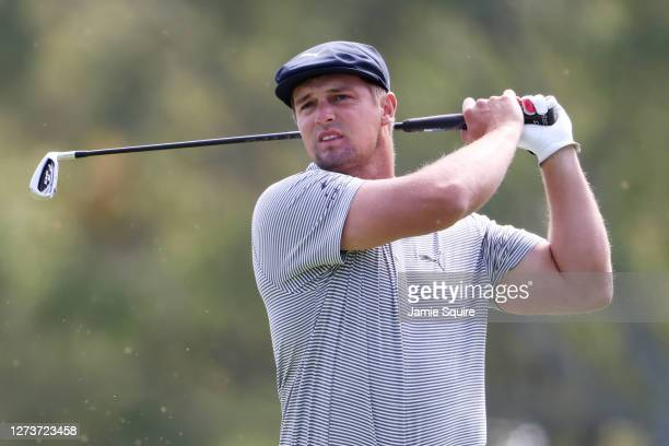 Bryson DeChambeau of the United States plays his shot from the third tee during the final round of the 120th U.S. Open Championship on September 20,...