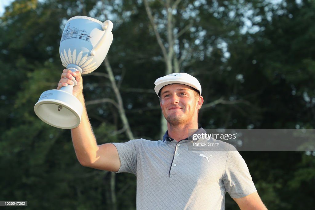 Bryson DeChambeau of the United States poses with the trophy after winning the Dell Technologies Championship at TPC Boston on September 3, 2018 in Norton, Massachusetts.