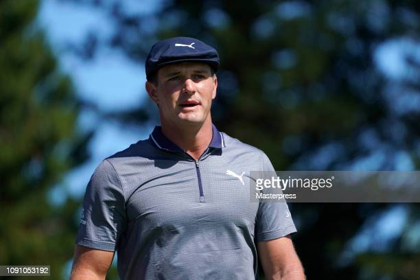 Bryson DeChambeau of the United States reacts after hitting a tee shot on the 2nd hole during the final round of the Sentry Tournament of Champions...