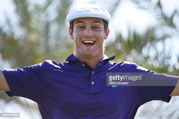 Bryson DeChambeau of the United States reacts after teeing off on the 18th hole during the first round of the Abu Dhabi HSBC Golf Championship at The...