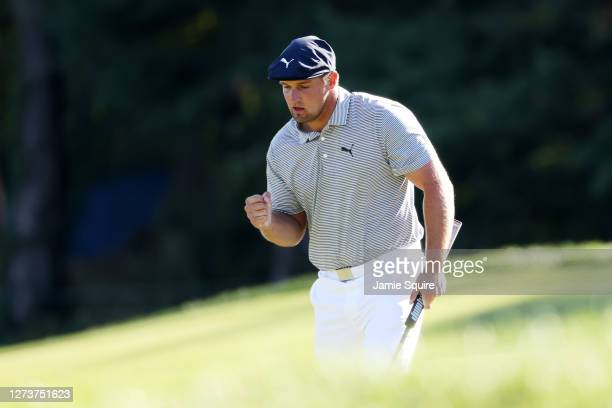 Bryson DeChambeau of the United States reacts on the 11th green during the final round of the 120th U.S. Open Championship on September 20, 2020 at...