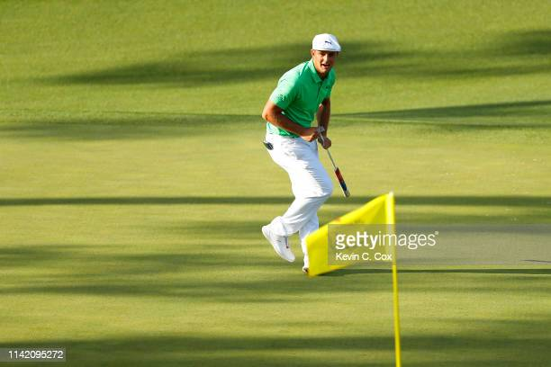 Bryson DeChambeau of the United States reacts on the 15th green during the first round of the Masters at Augusta National Golf Club on April 11 2019...
