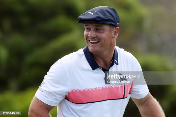 Bryson DeChambeau of the United States reacts on the 18th tee during the first round of the Sentry Tournament Of Champions at the Kapalua Plantation...