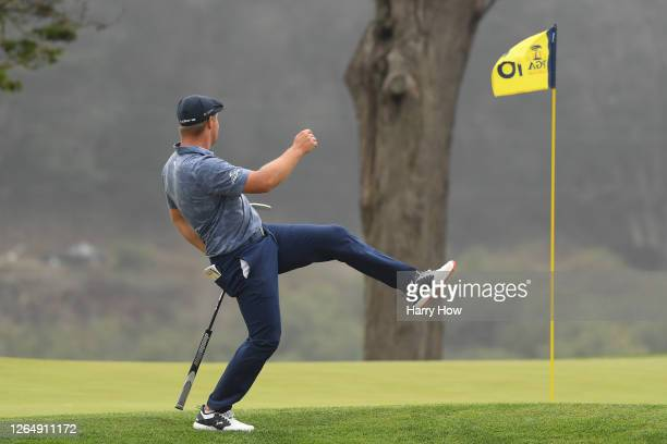 Bryson DeChambeau of the United States reacts to a missed putt for eagle on the 16th hole during the final round of the 2020 PGA Championship at TPC...