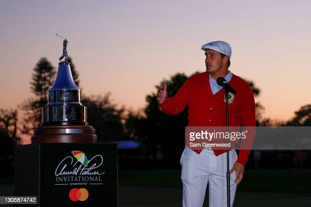 Bryson DeChambeau of the United States speaks during the trophy ceremony after winning the final round of the Arnold Palmer Invitational Presented by...