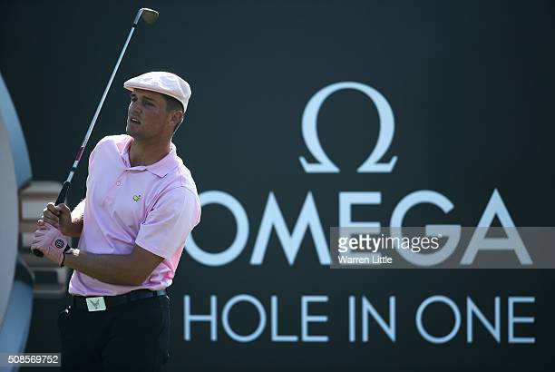Bryson DeChambeau of the United States tees off on the 7th hole during the second round of the Omega Dubai Desert Classic at the Emirates Golf Club...