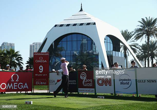 Bryson DeChambeau of the United States tees off on the 9th hole during the second round of the Omega Dubai Desert Classic at the Emirates Golf Club...