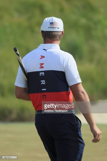 Bryson DeChambeau of the United States walks off the 18th green during the final round of the 2018 US Open at Shinnecock Hills Golf Club on June 17...