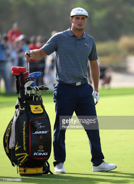 Bryson DeChambeau of the USA during the final round of the Omega Dubai Desert Classic at Emirates Golf Club on January 27 2019 in Dubai United Arab...