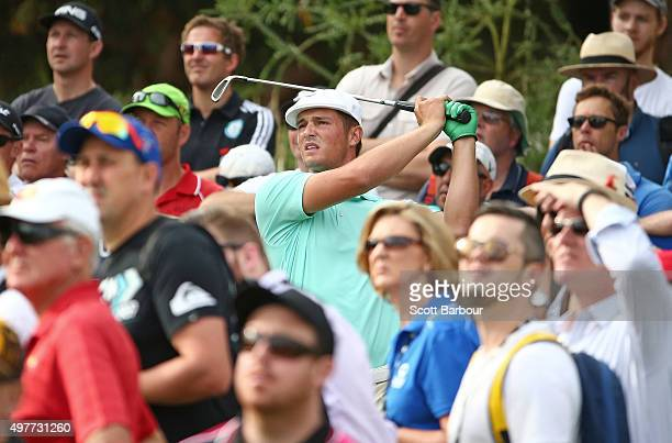 Bryson DeChambeau of the USA tees off on the 12th hole during day one of the 2015 Australian Masters at Huntingdale Golf Course on November 19 2015...