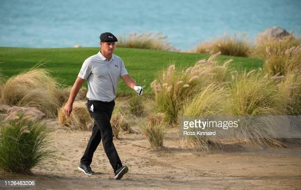 Bryson DeChambeau of the USA walking off of the 17th tee during the first round of the Saudi International at the Royal Greens Golf Country Club on...