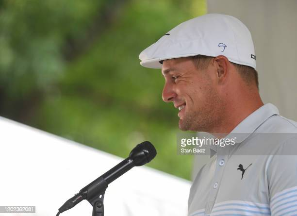 Bryson DeChambeau of United States speaks to the media after his second round of the World Golf Championships-Mexico Championship at Club de Golf...